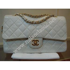 Take Back-Chanel Classic Double Flap Medium in White Lambskin With Gold Hardware