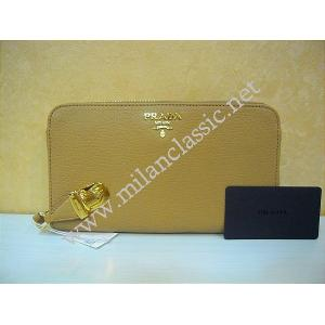 THAILAND - Prada Brown Soft Calf Leather Zipped Long Wallet With Closure