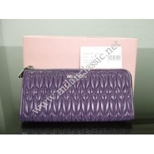 SOLD-NEW - Miu Miu Purple Lambskin Argilla Zippy Wallet