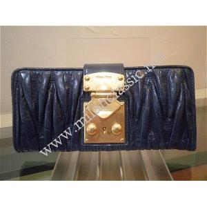 THAILAND - NEW - Miu Miu Navy Blue Lambskin Coffer Long Wallet