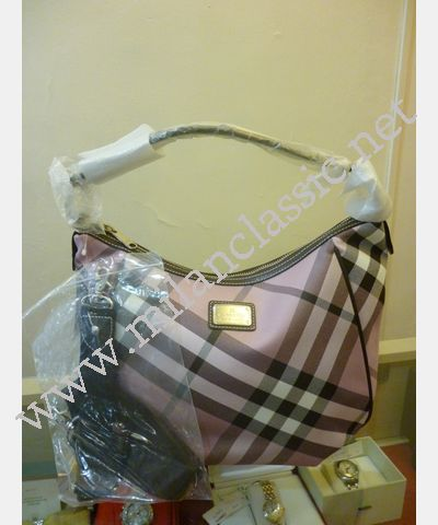 SOLD - NEW - Burberry-Blue Label Pink Canvas Brown Leather Trim Shoulder  Sling 4a14a74eb9ac8