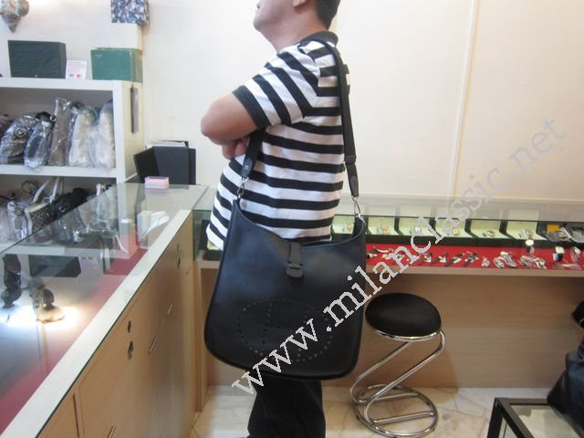 "fake hermes birkin handbags - TAKE BACK - Hermes Evelyne Black Taurillon Clemence Leather (XL)""O ..."
