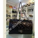 Chanel 2.55 Reissue Large 227 Black Patent Leather Silver Hardware