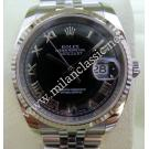 Rolex 116234 Gents Black Dial Roman Letter 18K+SS Auto 36mm (with Card + Box)