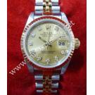 Rolex 69173 Ladies Gold Dial with Diamond 18K+SS Auto 26mm (with Box)