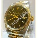 Rolex 16013 Black Tapestry Dial Auto 18K/SS 36mm