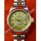 Rolex 69173 Ladies Gold Dial Roman Letter 18K+SS Auto 26mm (with Box)