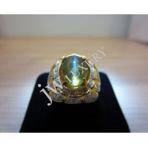 Cat Eye & Diamond Set With 750 Yellow Gold Gent Ring