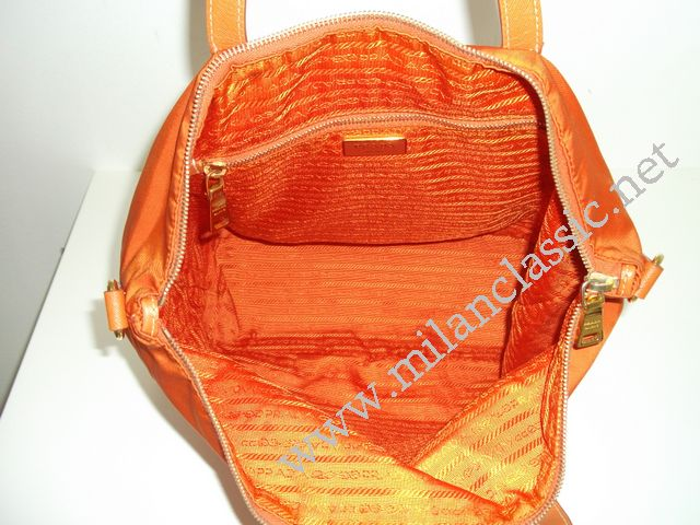 bc6d978357c4 SOLD - Prada Orange Nylon With Saffiano Leather Trim Hand/Sling Bag