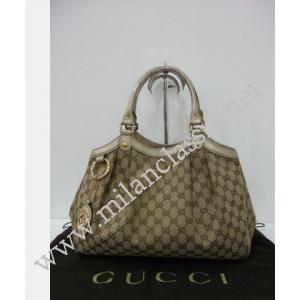Gucci Canvas Gold Leather Sukey Shoulder Bag