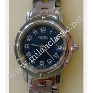 (转新号MC26013)Hermes Clipper Lady Quartz Blue Dial S/S 24mm