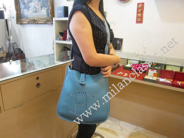 NEW - Hermes Evelyne III Light Blue Togo Leather \u0026quot;P\u0026quot; Stamp ...