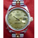 Rolex 69173 Lady Gold Dial Numerals 18K+SS Auto 26mm (With Paper + Box)