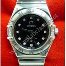 Omega Constellation Lady Black Dial With Diamond S/S Quartz 24mm (With Box)