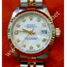 Rolex 79173 Ladies White Dial with Diamond Index Auto 18K/SS 26mm (With Box + Paper)