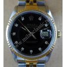 Rolex 16233 Gents Black Dial Diamond 18K+SS Auto 36mm (with Box)