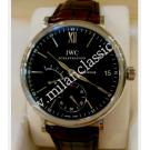 NEW- IWC Portofino Hand Wound Eight Days Black Dial Steel/Leather 45mm (With Box + Card)