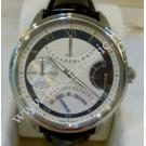 NEW- Maurice Lacroix Masterpiece Retrograde GMT Date Hand Wind Steel/Leather 46mm (With Box + Card)
