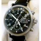 Sinn Flieger Chrono Day Date Black Dial Auto Brushed Steel / Leather 38.5mm