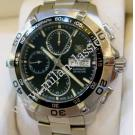 RESERVED WITH DEPOSIT-TAG Heuer-Aquaracer Chrono Day Date Black Dial Auto S/S 43mm (With Box + Card)