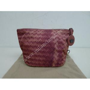 NEW - Bottega Veneta Maroon Canvas With Zippy Cosmetic Pouch