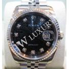 Rolex 116234 Black Computerized with Diamonds 18K+SS Auto 36mm( with Card + Box)