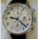 Tag Heuer-Carrera Chrono Calibre 1887 Silver Guilloche Dial Steel/Leather Auto 41mm (With Card + Box)