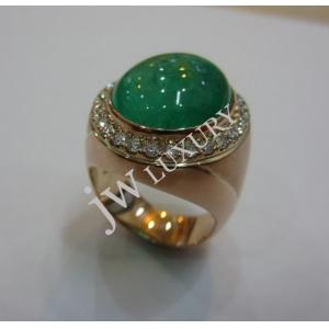 Emerald & 30pcs Diamond Set With 375 Gold Men Ring