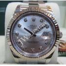 Rolex 116334 Oyster Perpetual Datejust II Silver Dial With Diamond Index Auto 18K/SS 41mm (With Card + Box)
