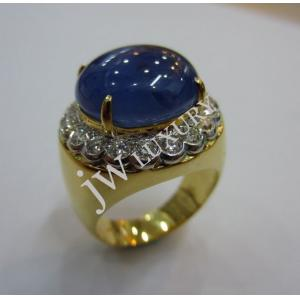 Blue Sapphire & 20pcs Diamond Set With 835 Yellow Gold Gent Ring (With Gemological Report)