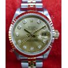 RESERVED-Rolex 69173 Lady Gold Dial With Diamonds 18K+SS Auto 26mm (With Paper + Box)