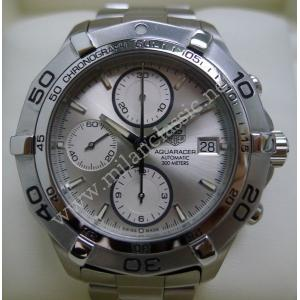 SOLD - Tag Heuer Aquaracer Chrono Silver Dial S/S Auto 43mm (With Box)