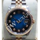 Rolex 16233 Two Tone Blue Diamond Index Dial Auto 18K/SS 36mm (With Card + Box )