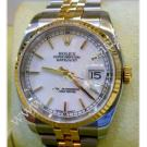 "Rolex 116233 White Index Dial Auto 18K/SS 36mm ""F-series"" (With Box + Paper)"