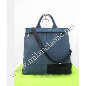 NEW - Versace Jeans Blue Canvas With Leather 2-Way Bag