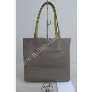 "Hermes Double Sens 27cm Reversible Tote Bag Yellow/Grey Swift Calfskin ""Q Stamp"""