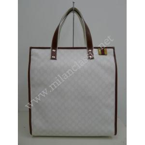 Gucci White Waterproof Canvas With Brown Trim Tote