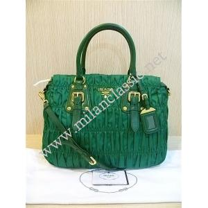 NEW - Prada Bamboo Green Nylon Zipped Gaufre Hand/Crossbody Bag