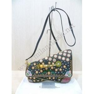 Christian Dior Black Denim Montaige Crossbody Bag (Emboidery/Beads)