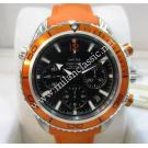 Omega Seamaster Planet Ocean Chrono Orange Bezel Auto Steel / Rubber 38mm (With Card + Box)