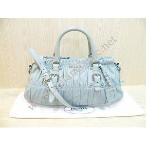Prada Light Blue Nappa Leather Zipped Gaufre 2-Way Bag