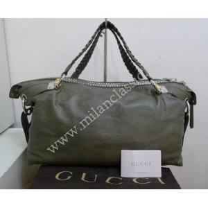 NEW - Gucci Green Leather Bamboo Bar Tote