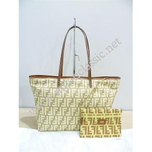 NEW - Fendi Monogram Yellow Nylon Leather Trim Zipped Tote With Pouch