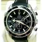 RESERVED WITH DEPOSIT - Omega-Seamaster Planet Ocean Chrono Black Bezel Auto Steel / Rubber 45.5mm (With Card + Box)