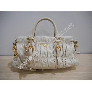 RETURNED -Prada Beige Nappa Leather Small Zipped Gaufre Hand/Sling Bag