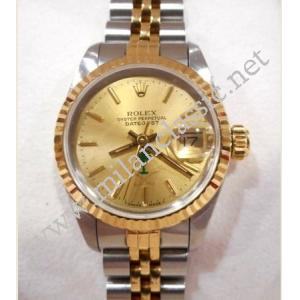 Rolex 69173 Ladies Champagne Dial With Special Palm Tree & Sword Logo Auto 18K/SS 26mm (With Box)