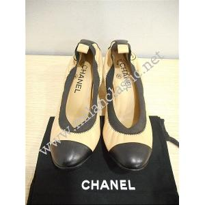 RETURNED - Chanel Beige Leather Elastic Cap Toe Block Mid Heels