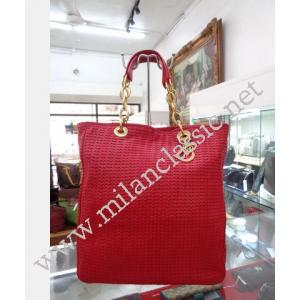 Christian Dior Soft Medium in Red Woven Leather Gold Chain Tote Shoulder Bag