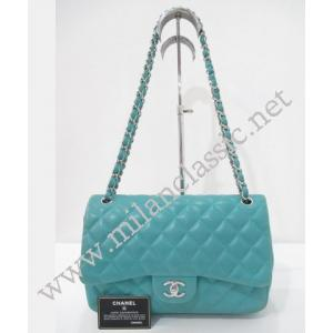 SOLD - Chanel Classic Double Flap Jumbo In Turquoise Lambskin With Silver Hardware