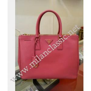 Prada Pink Saffiano Leather Double Zippy Lux Tote (Large)